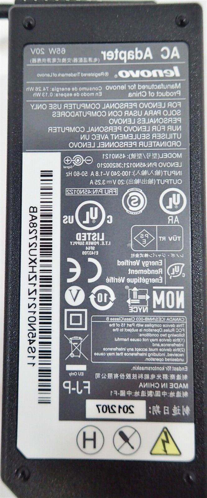 Genuine Lenovo AC Charger Adapter 65W 20V 3.25A TIP